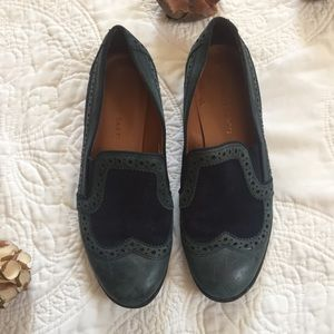 Franco Sarto Leather Navy Blue Tibby Loafers